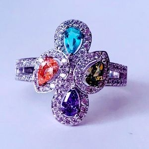 NEW! TURKISH MADE SWAROVSKI CRYSTAL COLORFUL RING